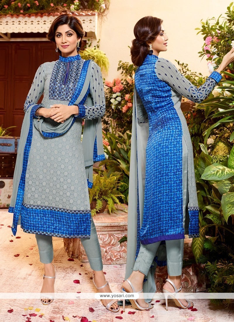 Shilpa Shetty Print Work Blue Churidar Designer Suit