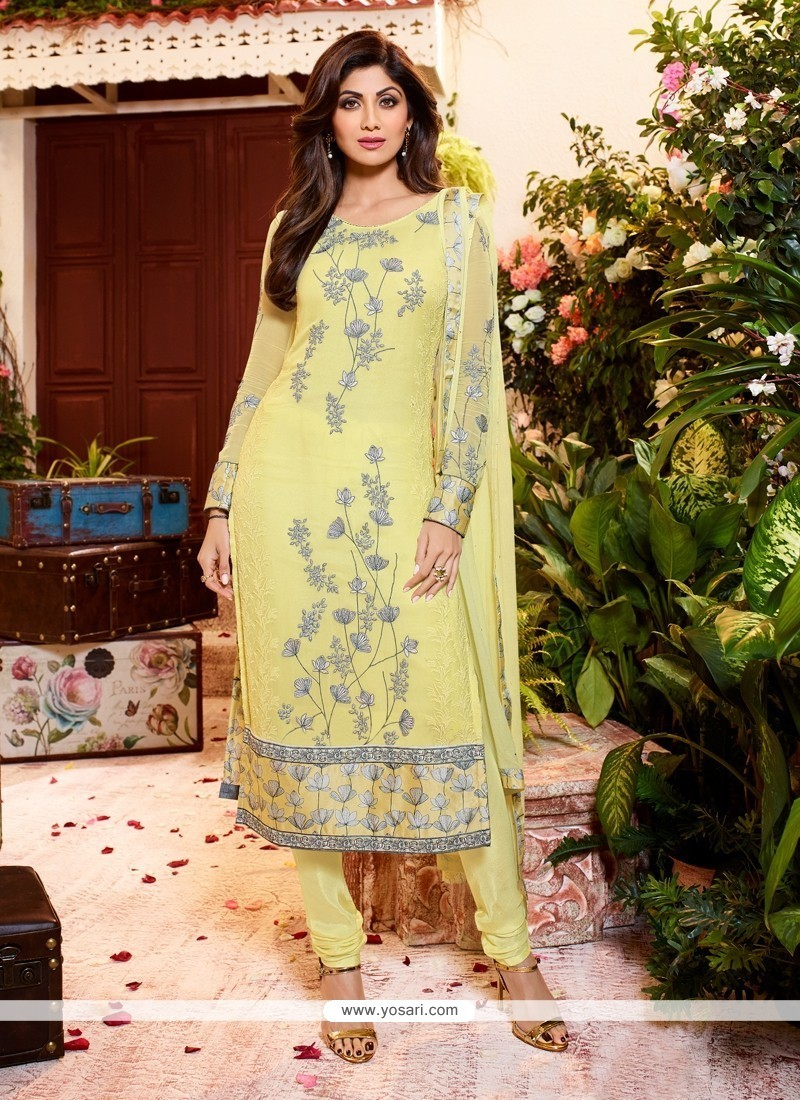 Shilpa Shetty Yellow Georgette Churidar Designer Suit
