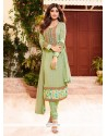 Shilpa Shetty Green Churidar Designer Suit
