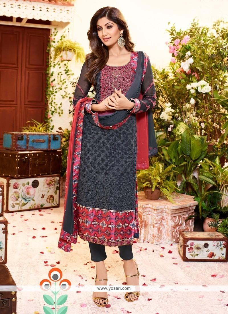 Shilpa Shetty Grey Churidar Designer Suit