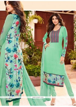 Shilpa Shetty Print Work Georgette Churidar Designer Suit