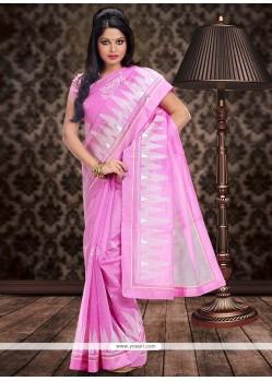 Beauteous Pink Supernet Saree