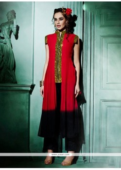 Tantalizing Faux Georgette Red Designer Kurti