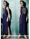 Artistic Navy Blue Designer Kurti