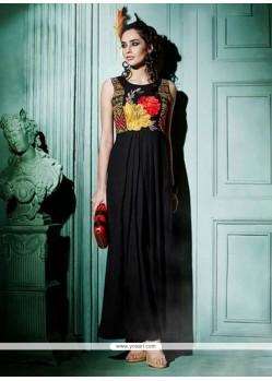 Alluring Resham Work Georgette Black Designer Kurti