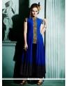 Miraculous Blue Gold Zardosi Work Faux Georgette Designer Kurti