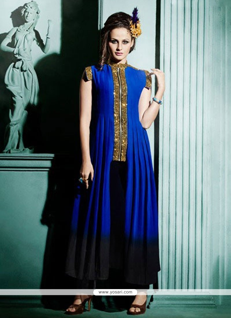 4daa28d278 Buy Miraculous Blue Gold Zardosi Work Faux Georgette Designer Kurti ...
