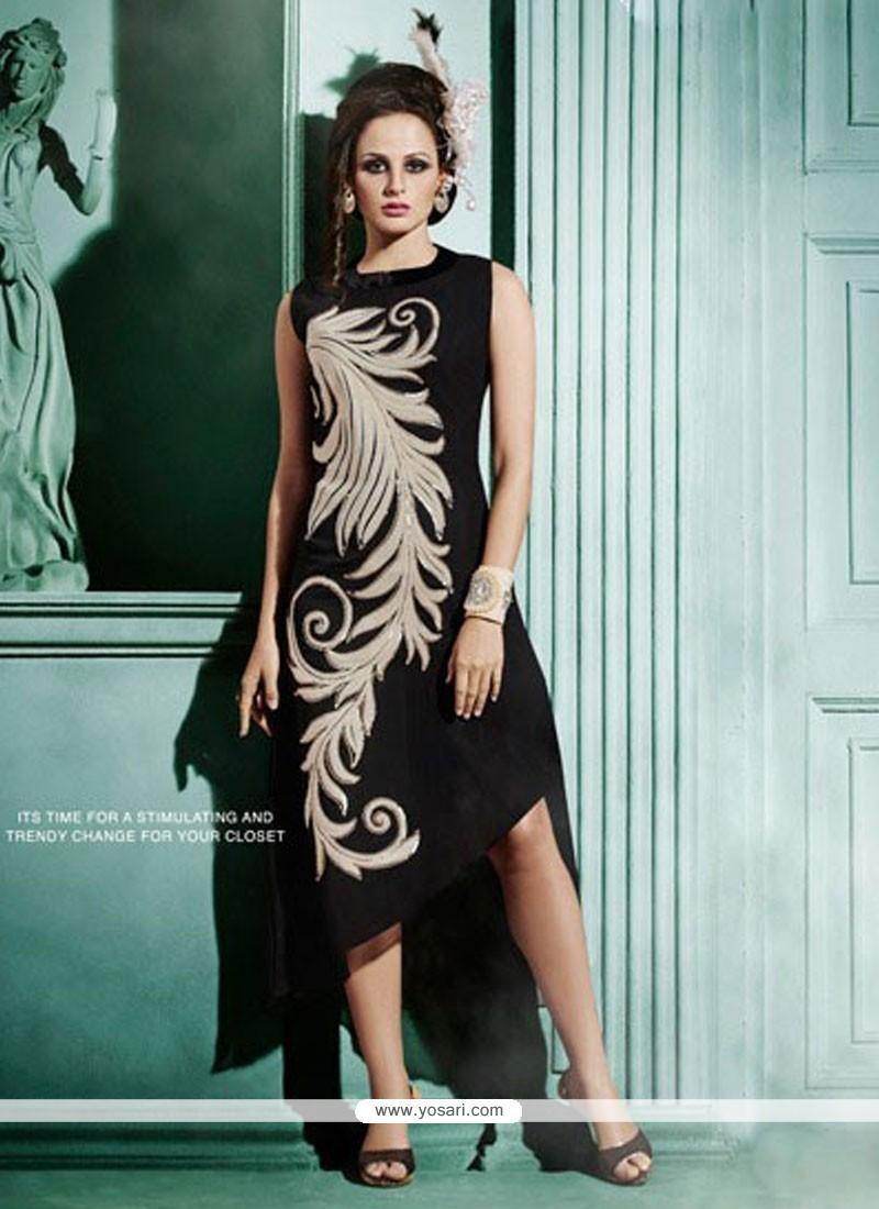 Pretty Embroidered Work Black Designer Kurti