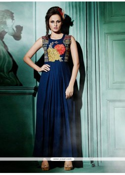 Striking Resham Work Navy Blue Designer Kurti
