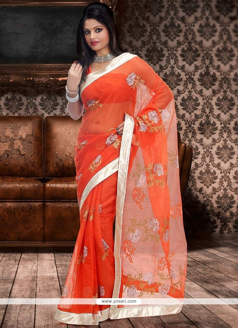 Admirable Orange Supernet Saree