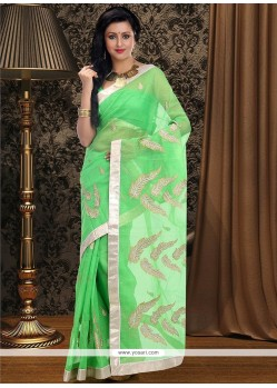 Angelic Green Supernet Saree