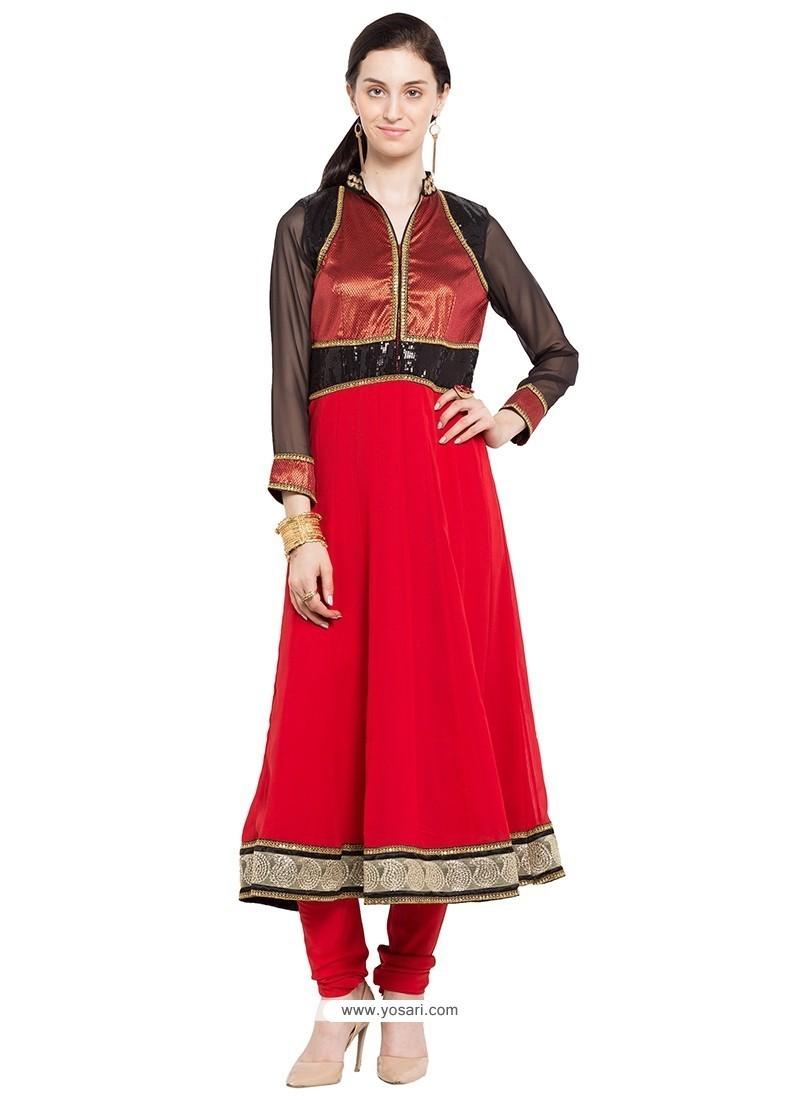 Ravishing Embroidered Work Red Designer Kurti