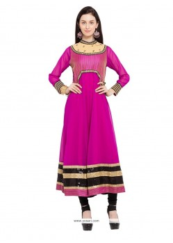 Affectionate Georgette Magenta Embroidered Work Designer Kurti