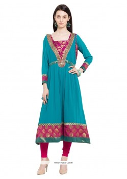 Staggering Blue Embroidered Work Georgette Designer Kurti