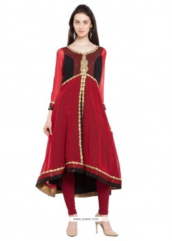 Gratifying Embroidered Work Red Georgette Designer Kurti