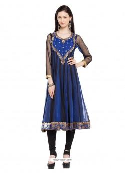 Fine Georgette Blue Designer Kurti