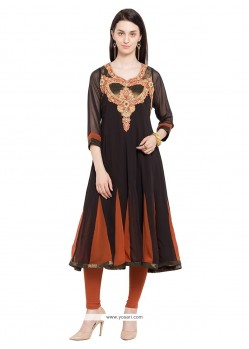 Sophisticated Embroidered Work Black Georgette Designer Kurti