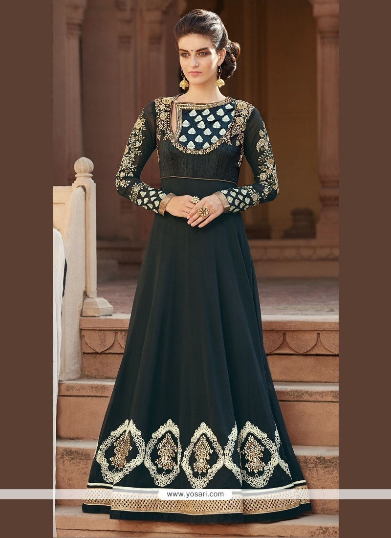 Excellent Patch Border Work Black Anarkali Salwar Kameez