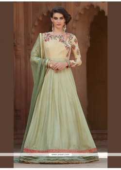 Groovy Georgette Green Patch Border Work Anarkali Salwar Kameez