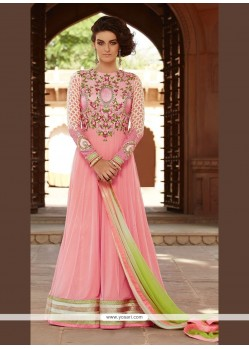 Gleaming Patch Border Work Pink Net Anarkali Salwar Kameez