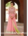 Gleaming Patch Border Work Pink Net Anarkali Salwar Kameez