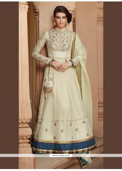 Baronial Tussar Silk Cream Patch Border Work Anarkali Salwar Kameez