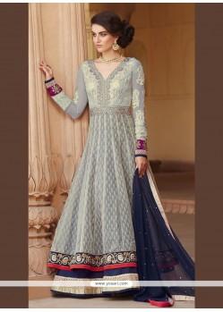 Imposing Jacquard Grey Anarkali Salwar Kameez