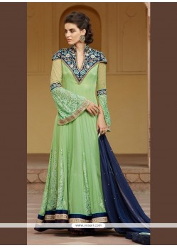 Fine Green Patch Border Work Net Anarkali Salwar Kameez