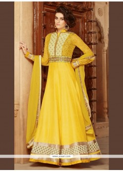 Extraordinary Georgette Patch Border Work Anarkali Salwar Kameez