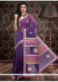 Appealing Violet Supernet Saree