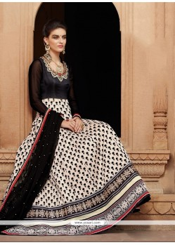 Gripping Net Black Anarkali Salwar Kameez