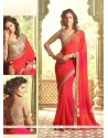 Radiant Red Embroidered Work Traditional Saree