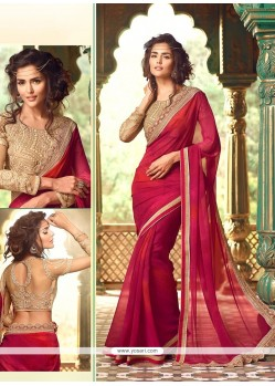 Striking Georgette Patch Border Work Trendy Saree