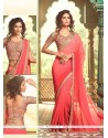 Incredible Georgette Patch Border Work Traditional Saree
