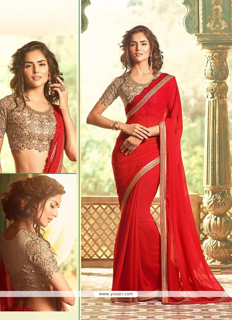 Exuberant Embroidered Work Traditional Designer Sarees