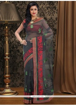 Blooming Black Supernet Saree