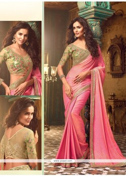 Exuberant Silk Pink Traditional Saree