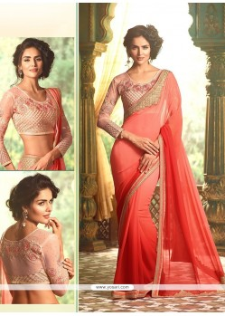 Red Embroidered Work Georgette Trendy Saree