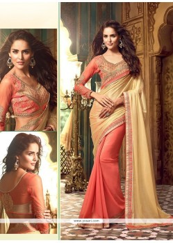 Dilettante Peach Embroidered Work Georgette Classic Saree