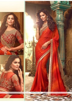 Baronial Patch Border Work Georgette Classic Designer Saree