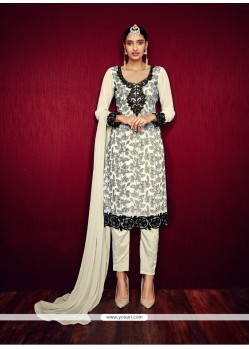 Marvelous Georgette Off White Pant Style Suit