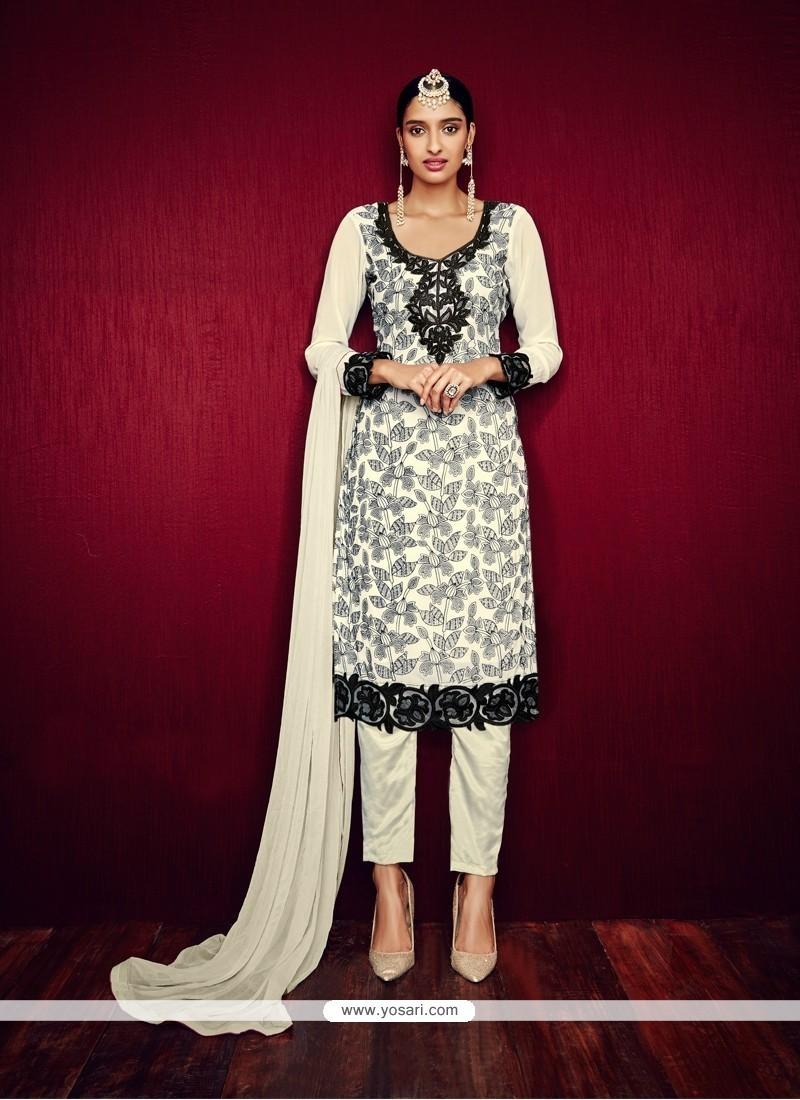 3da3744054 Buy Marvelous Georgette Off White Pant Style Suit | Designer Salwar ...