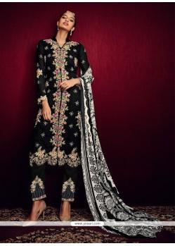 Especial Print Work Black Georgette Pant Style Suit