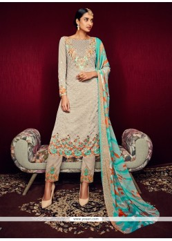 Arresting Georgette Print Work Pant Style Suit
