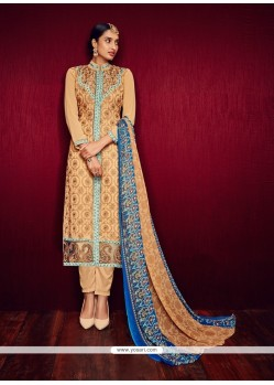 Flamboyant Georgette Orange Embroidered Work Pant Style Suit