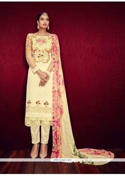 Latest Embroidered Work Cream Georgette Pant Style Suit