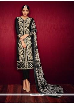Praiseworthy Georgette Black Pant Style Suit