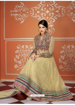 Elite Cream Net And Georgette Anarkali Suit