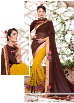 Beauteous Mustard Patch Border Work Georgette Classic Saree