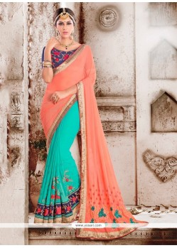 Glossy Georgette Sea Green Designer Saree